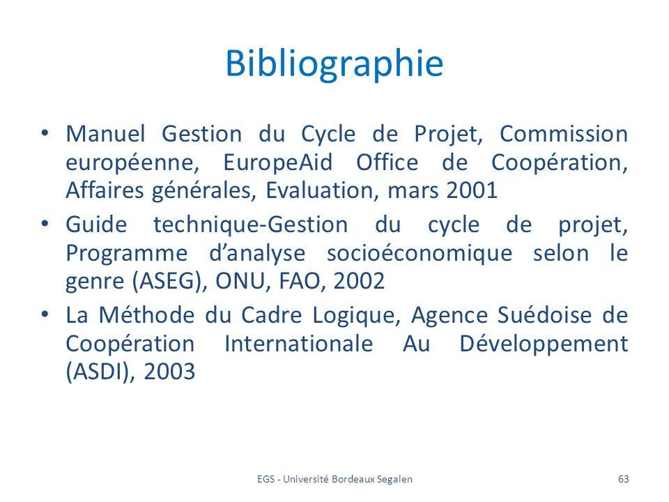 EGS - Université Bordeaux Segalen63 Bibliographie Manuel Gestion du Cycle de Projet, Commission européenne, EuropeAid Office de Coopération, Affaires