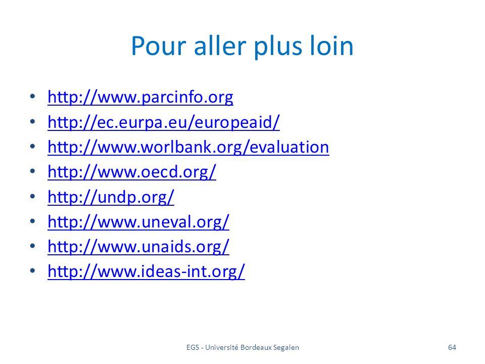 EGS - Université Bordeaux Segalen64 Pour aller plus loin http://www.parcinfo.org http://ec.eurpa.eu/europeaid/ http://www.worlbank.org/evaluation http