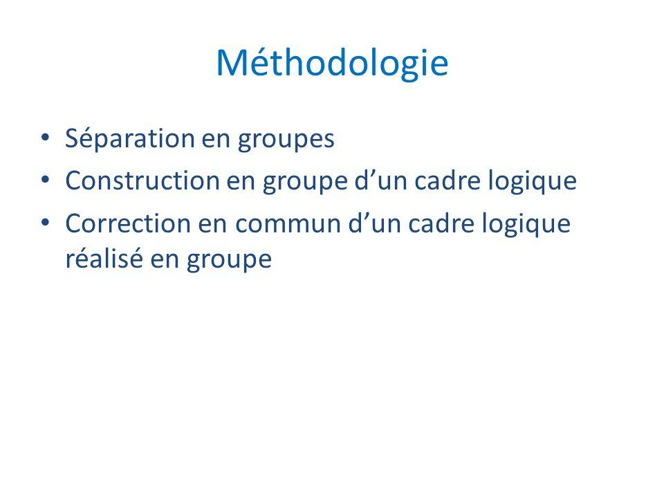 Méthodologie Séparation en groupes Construction en groupe dun cadre logique Correction en commun dun cadre logique réalisé en groupe