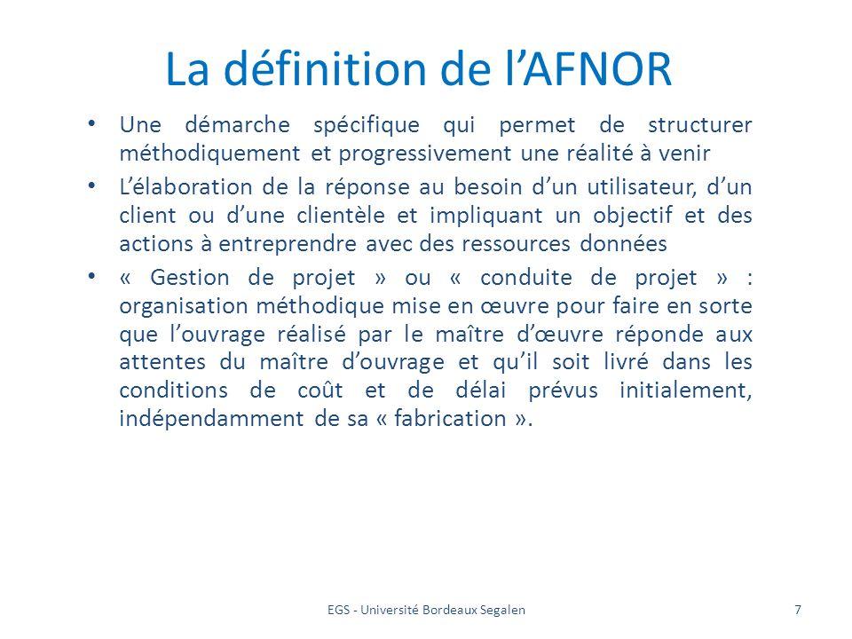 EGS - Université Bordeaux Segalen7 La définition de lAFNOR Une démarche spécifique qui permet de structurer méthodiquement et progressivement une réal