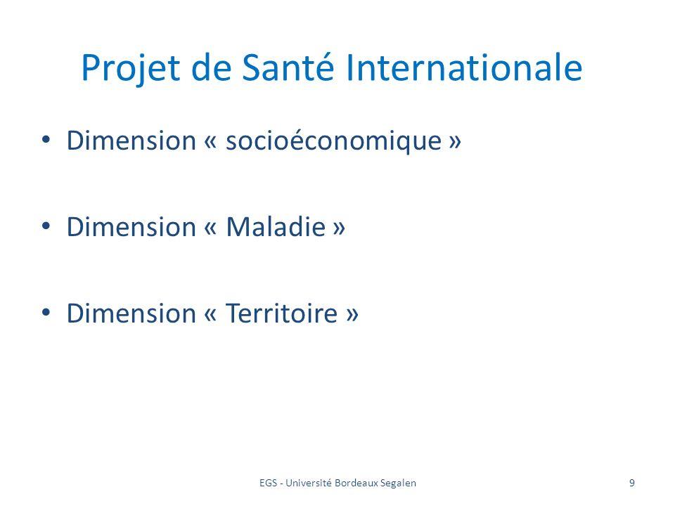 EGS - Université Bordeaux Segalen9 Projet de Santé Internationale Dimension « socioéconomique » Dimension « Maladie » Dimension « Territoire »