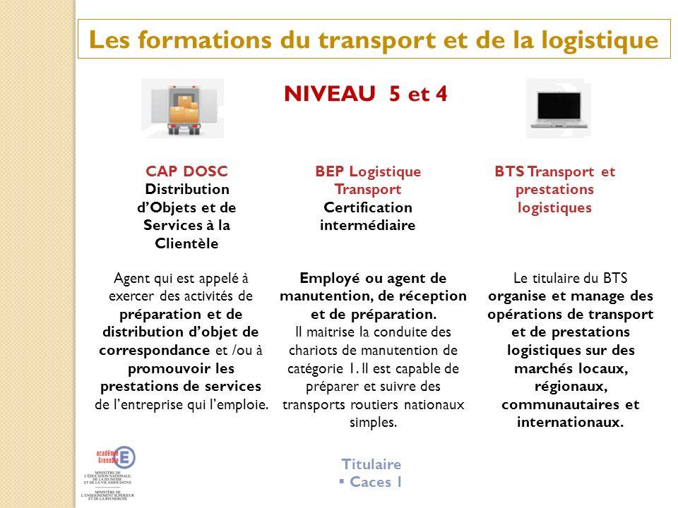 Les formations du transport et de la logistique NIVEAU 5 et 4 CAP DOSC Distribution dObjets et de Services à la Clientèle BEP Logistique Transport Cer
