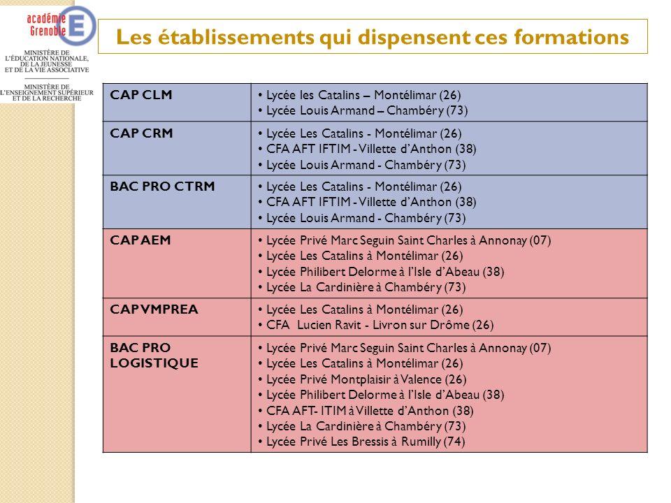 Les établissements qui dispensent ces formations CAP CLM Lycée les Catalins – Montélimar (26) Lycée Louis Armand – Chambéry (73) CAP CRM Lycée Les Cat