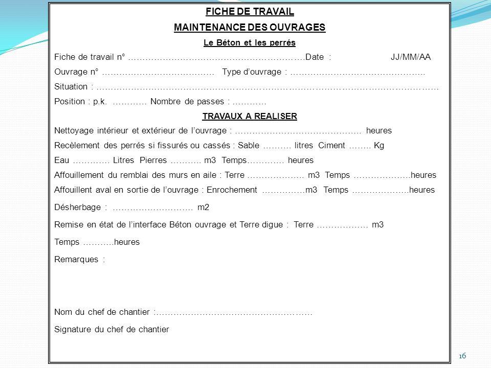 16 FICHE DE TRAVAIL MAINTENANCE DES OUVRAGES Le Béton et les perrés Fiche de travail n° …………………………………………………….Date : JJ/MM/AA Ouvrage n° …………………………………