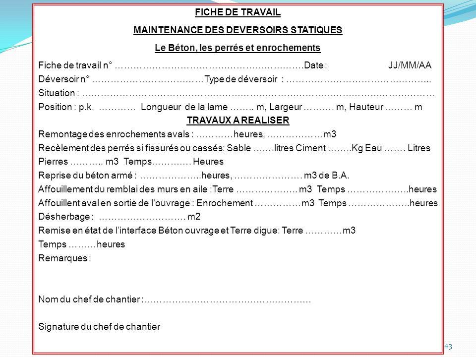 43 FICHE DE TRAVAIL MAINTENANCE DES DEVERSOIRS STATIQUES Le Béton, les perrés et enrochements Fiche de travail n° …………………………………………………….Date : JJ/MM/AA