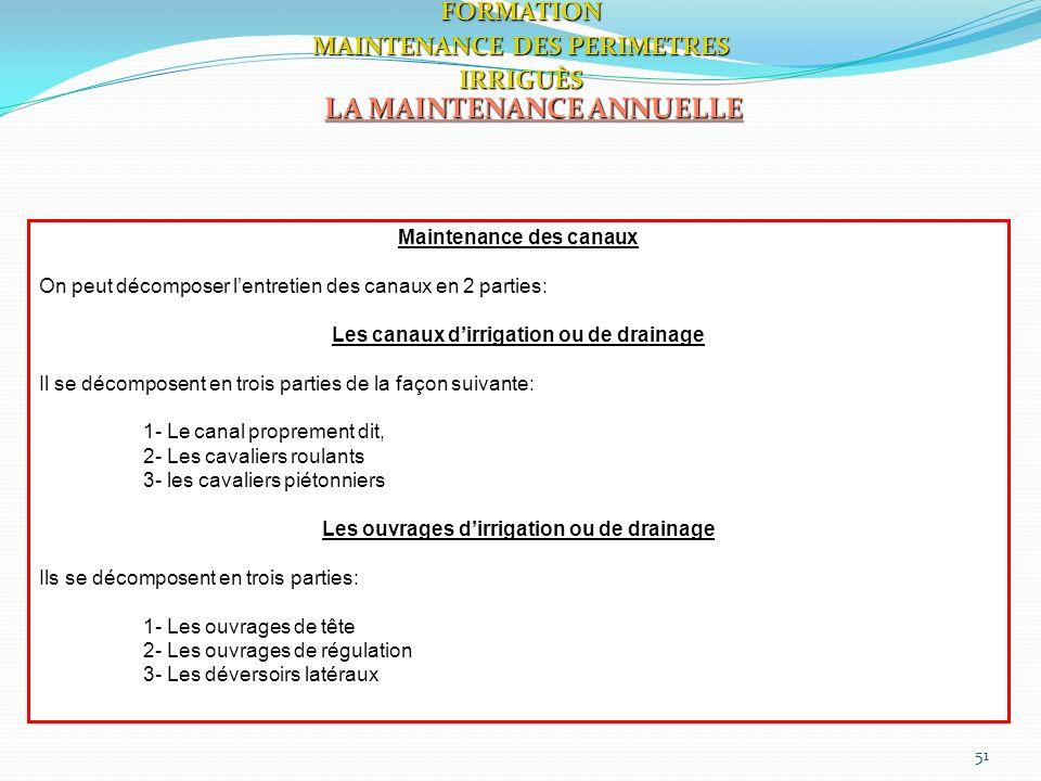 51 LA MAINTENANCE ANNUELLE FORMATION MAINTENANCE DES PERIMETRES IRRIGUÈS Maintenance des canaux On peut décomposer lentretien des canaux en 2 parties:
