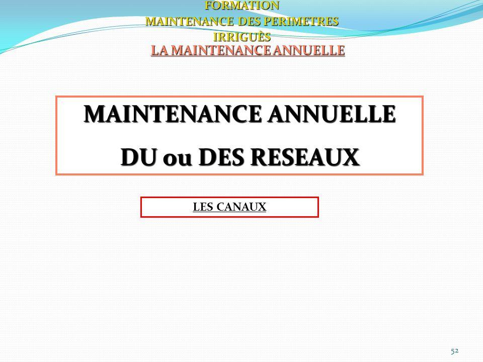 52 LA MAINTENANCE ANNUELLE FORMATION MAINTENANCE DES PERIMETRES IRRIGUÈS MAINTENANCE ANNUELLE DU ou DES RESEAUX LES CANAUX