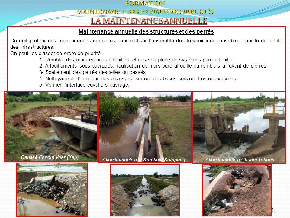 67FORMATION MAINTENANCE DES PERIMETRES IRRIGUÈS LA MAINTENANCE ANNUELLE 67 Canal à Phnom Voar (Kep) Affouillements à O Kranhek (Kampong Thom) Affouill