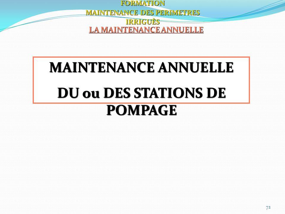 72 LA MAINTENANCE ANNUELLE FORMATION MAINTENANCE DES PERIMETRES IRRIGUÈS MAINTENANCE ANNUELLE DU ou DES STATIONS DE POMPAGE