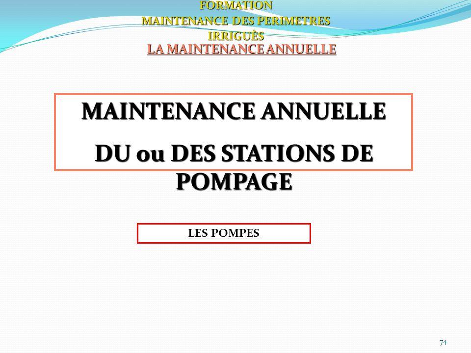 74 LA MAINTENANCE ANNUELLE FORMATION MAINTENANCE DES PERIMETRES IRRIGUÈS MAINTENANCE ANNUELLE DU ou DES STATIONS DE POMPAGE LES POMPES
