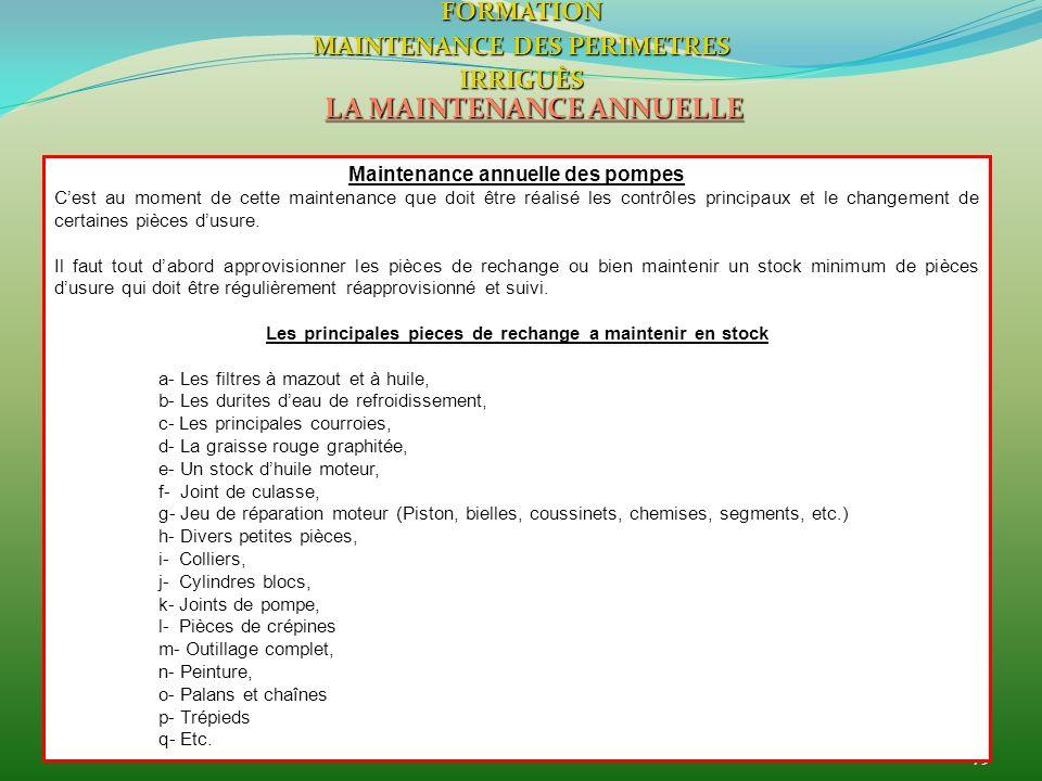 75 LA MAINTENANCE ANNUELLE FORMATION MAINTENANCE DES PERIMETRES IRRIGUÈS Maintenance annuelle des pompes Cest au moment de cette maintenance que doit