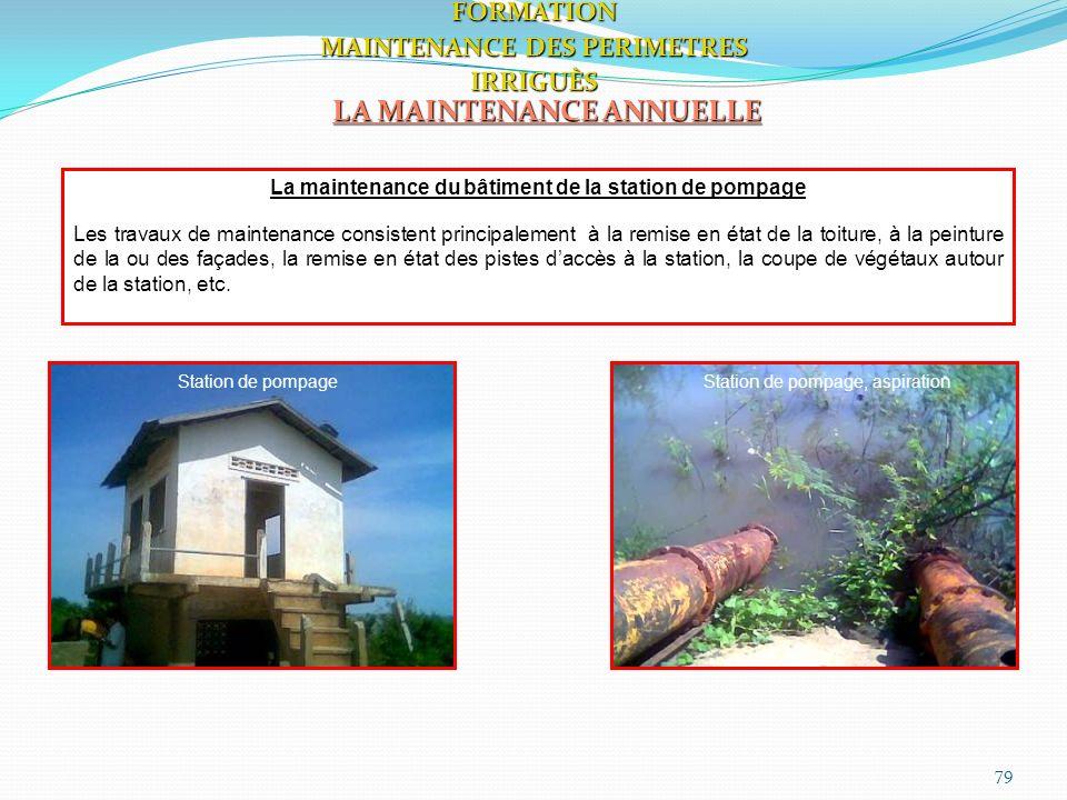 79 LA MAINTENANCE ANNUELLE FORMATION MAINTENANCE DES PERIMETRES IRRIGUÈS La maintenance du bâtiment de la station de pompage Les travaux de maintenanc