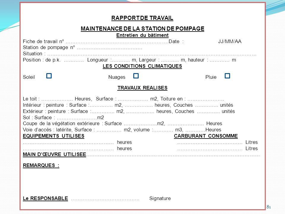 81 RAPPORT DE TRAVAIL MAINTENANCE DE LA STATION DE POMPAGE Entretien du bâtiment Fiche de travail n° …………………………………………………….Date : JJ/MM/AA Station de p