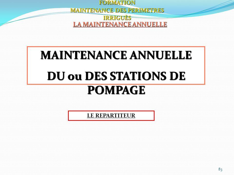 83 LA MAINTENANCE ANNUELLE FORMATION MAINTENANCE DES PERIMETRES IRRIGUÈS MAINTENANCE ANNUELLE DU ou DES STATIONS DE POMPAGE LE REPARTITEUR