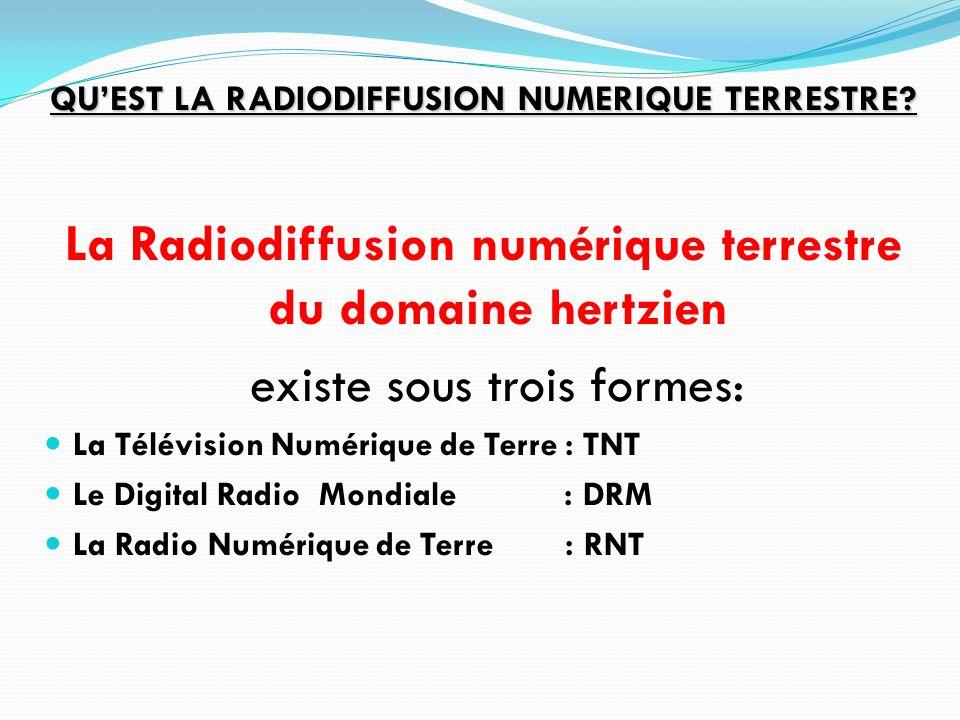 QUEST LA RADIODIFFUSION NUMERIQUE TERRESTRE? La Radiodiffusion numérique terrestre du domaine hertzien existe sous trois formes: La Télévision Numériq