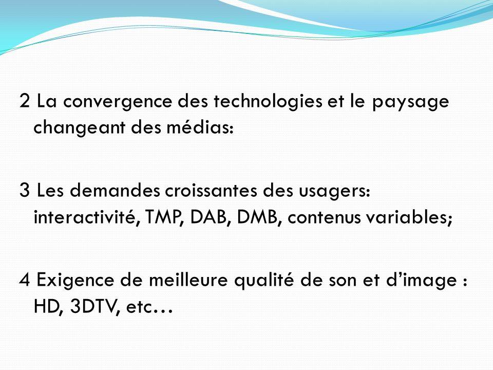 2 La convergence des technologies et le paysage changeant des médias: 3 Les demandes croissantes des usagers: interactivité, TMP, DAB, DMB, contenus v