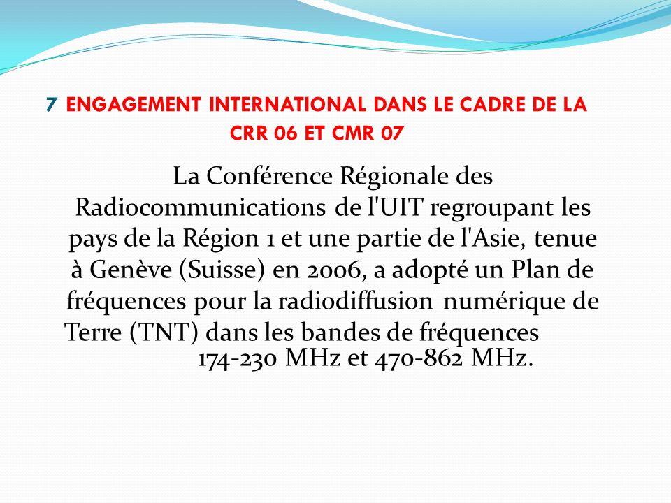 7 ENGAGEMENT INTERNATIONAL DANS LE CADRE DE LA CRR 06 ET CMR 07 La Conférence Régionale des Radiocommunications de l'UIT regroupant les pays de la Rég