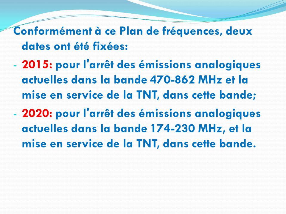 Conformément à ce Plan de fréquences, deux dates ont été fixées: - 2015: pour l'arrêt des émissions analogiques actuelles dans la bande 470-862 MHz et