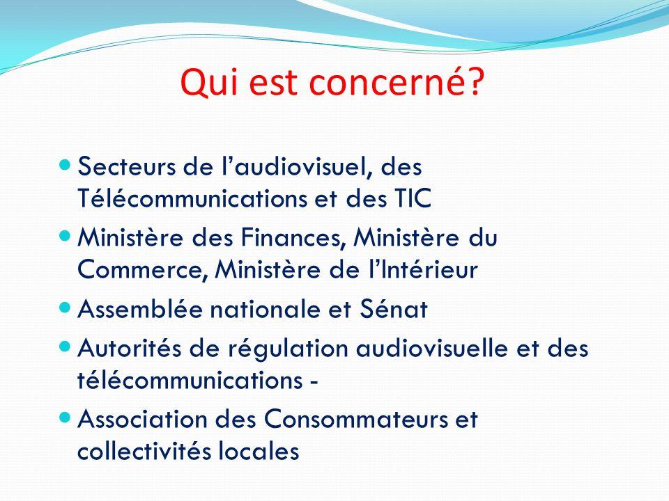 Qui est concerné? Secteurs de laudiovisuel, des Télécommunications et des TIC Ministère des Finances, Ministère du Commerce, Ministère de lIntérieur A