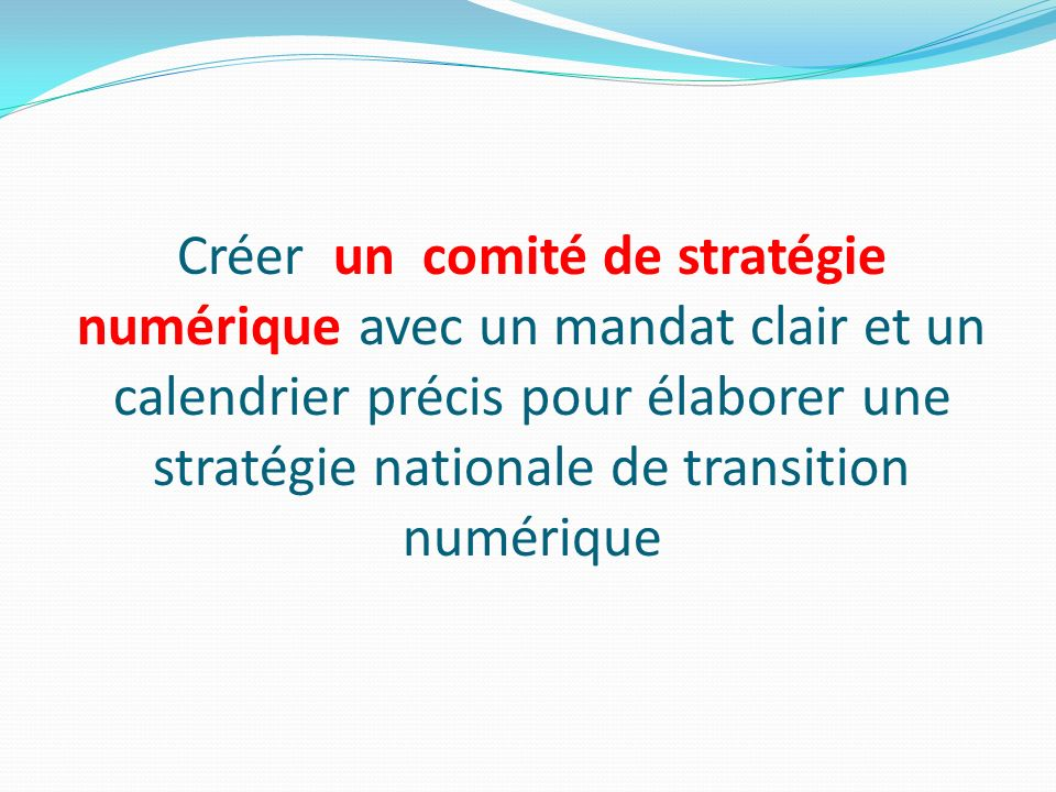 Créer un comité de stratégie numérique avec un mandat clair et un calendrier précis pour élaborer une stratégie nationale de transition numérique