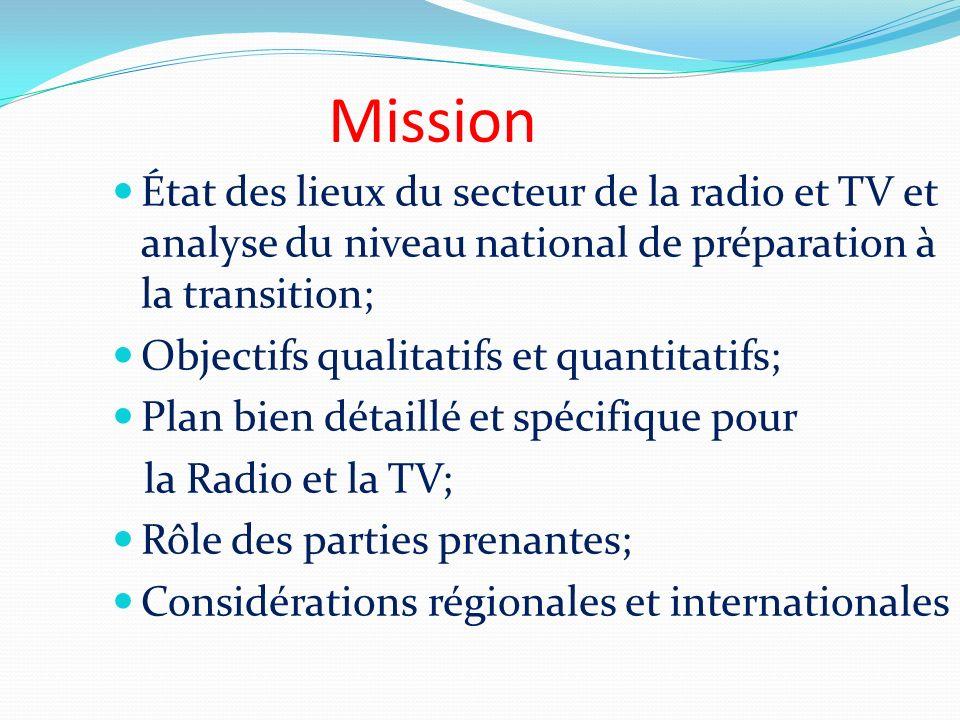 Mission État des lieux du secteur de la radio et TV et analyse du niveau national de préparation à la transition; Objectifs qualitatifs et quantitatif