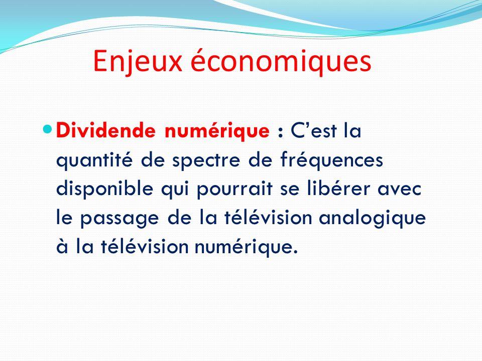 Enjeux économiques Dividende numérique : Cest la quantité de spectre de fréquences disponible qui pourrait se libérer avec le passage de la télévision