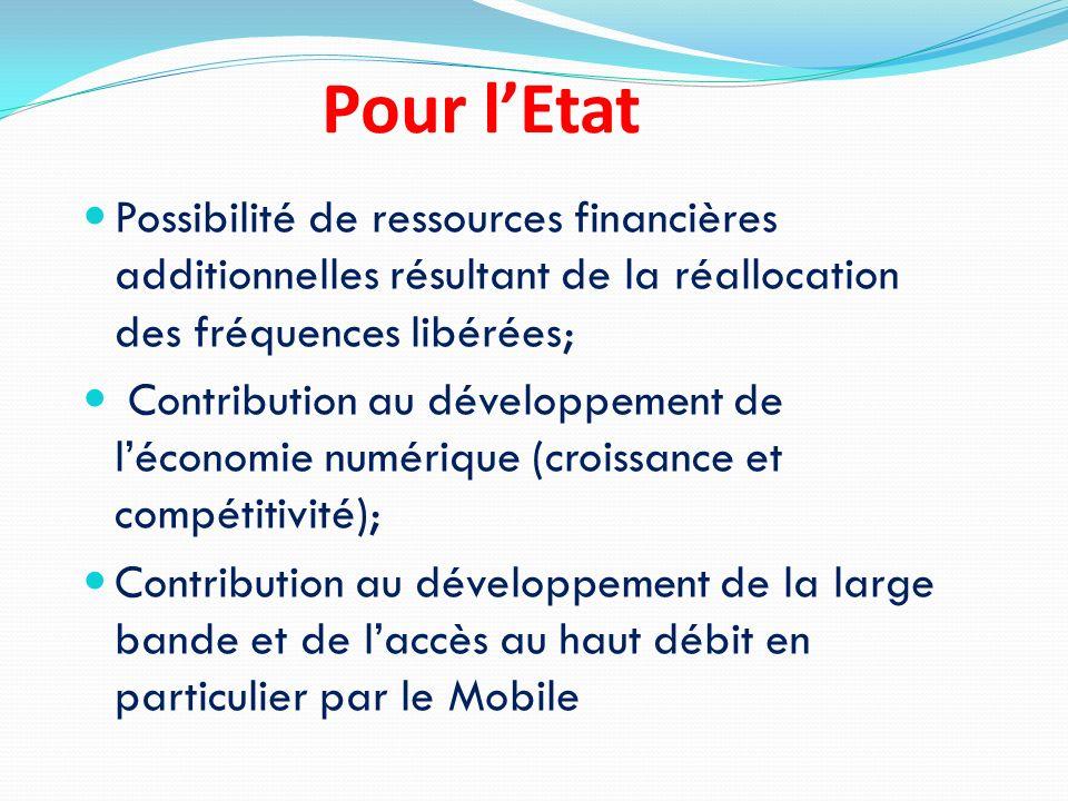 Pour lEtat Possibilité de ressources financières additionnelles résultant de la réallocation des fréquences libérées; Contribution au développement de