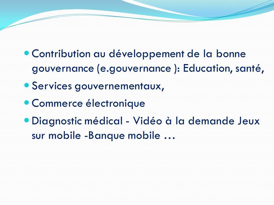 Contribution au développement de la bonne gouvernance (e.gouvernance ): Education, santé, Services gouvernementaux, Commerce électronique Diagnostic m