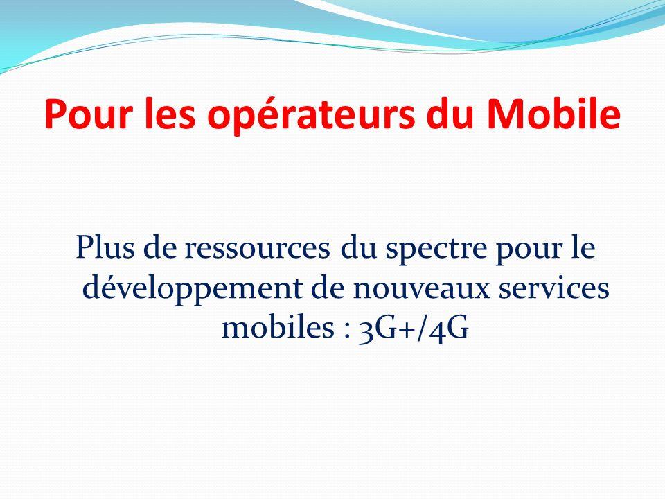 Pour les opérateurs du Mobile Plus de ressources du spectre pour le développement de nouveaux services mobiles : 3G+/4G