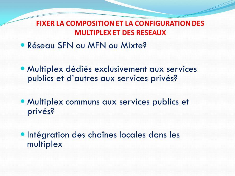 FIXER LA COMPOSITION ET LA CONFIGURATION DES MULTIPLEX ET DES RESEAUX Réseau SFN ou MFN ou Mixte? Multiplex dédiés exclusivement aux services publics