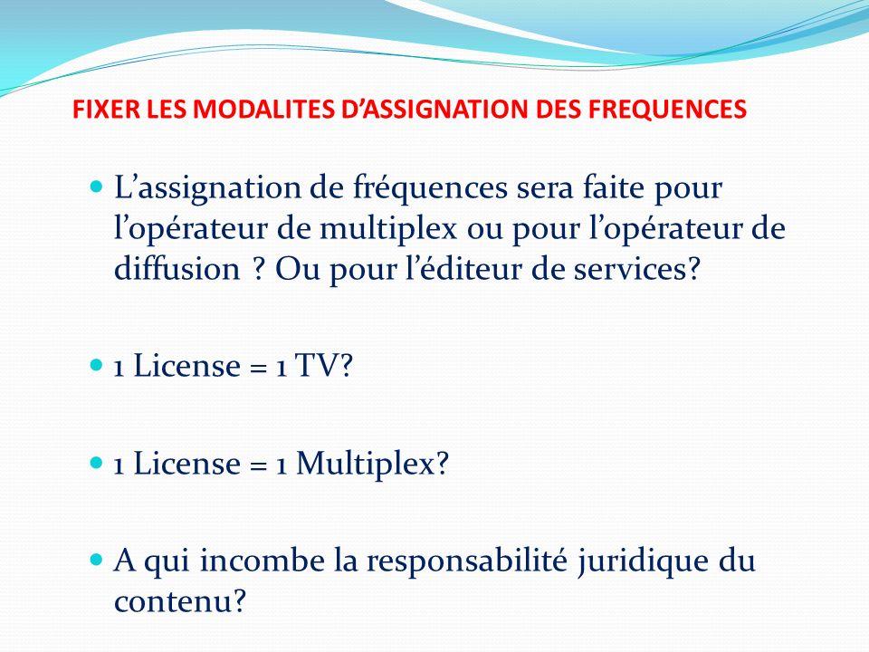 FIXER LES MODALITES DASSIGNATION DES FREQUENCES Lassignation de fréquences sera faite pour lopérateur de multiplex ou pour lopérateur de diffusion ? O