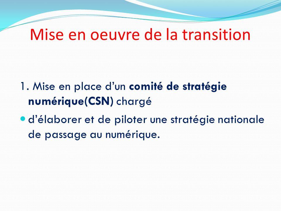 Mise en oeuvre de la transition 1. Mise en place dun comité de stratégie numérique(CSN) chargé délaborer et de piloter une stratégie nationale de pass