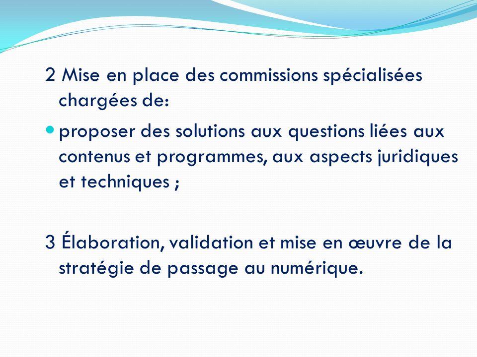 2 Mise en place des commissions spécialisées chargées de: proposer des solutions aux questions liées aux contenus et programmes, aux aspects juridique