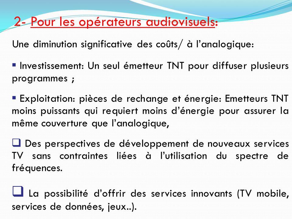 Une diminution significative des coûts/ à lanalogique: Investissement: Un seul émetteur TNT pour diffuser plusieurs programmes ; Exploitation: pièces