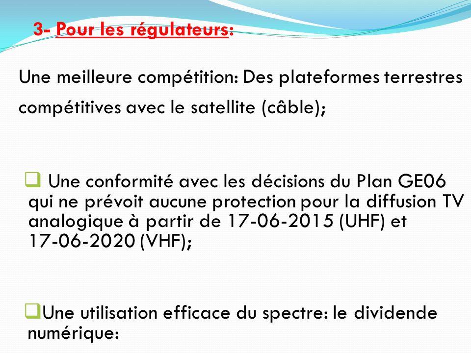 Une meilleure compétition: Des plateformes terrestres compétitives avec le satellite (câble); Une conformité avec les décisions du Plan GE06 qui ne pr