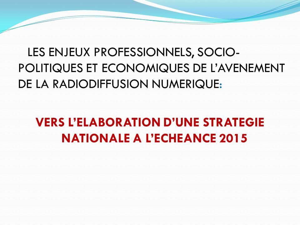 LES ENJEUX PROFESSIONNELS, SOCIO- POLITIQUES ET ECONOMIQUES DE LAVENEMENT DE LA RADIODIFFUSION NUMERIQUE: VERS LELABORATION DUNE STRATEGIE NATIONALE A