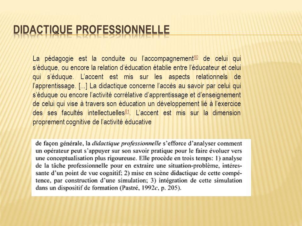 La pédagogie est la conduite ou laccompagnement 60 de celui qui séduque, ou encore la relation déducation établie entre léducateur et celui qui séduque.