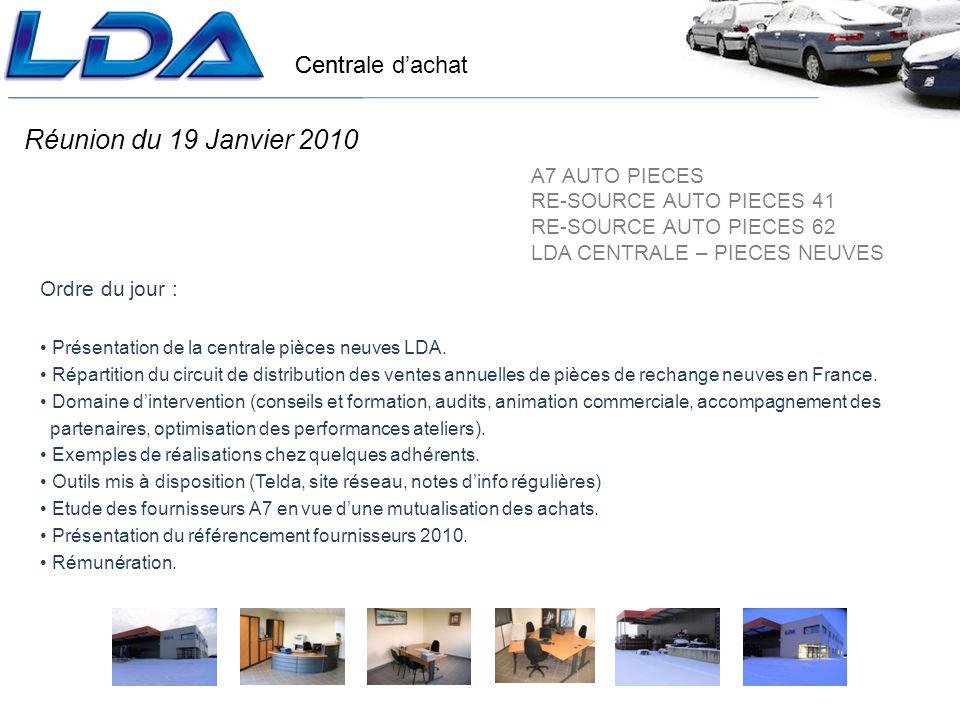 Centrale dachat Réunion du 19 Janvier 2010 Ordre du jour : Présentation de la centrale pièces neuves LDA.