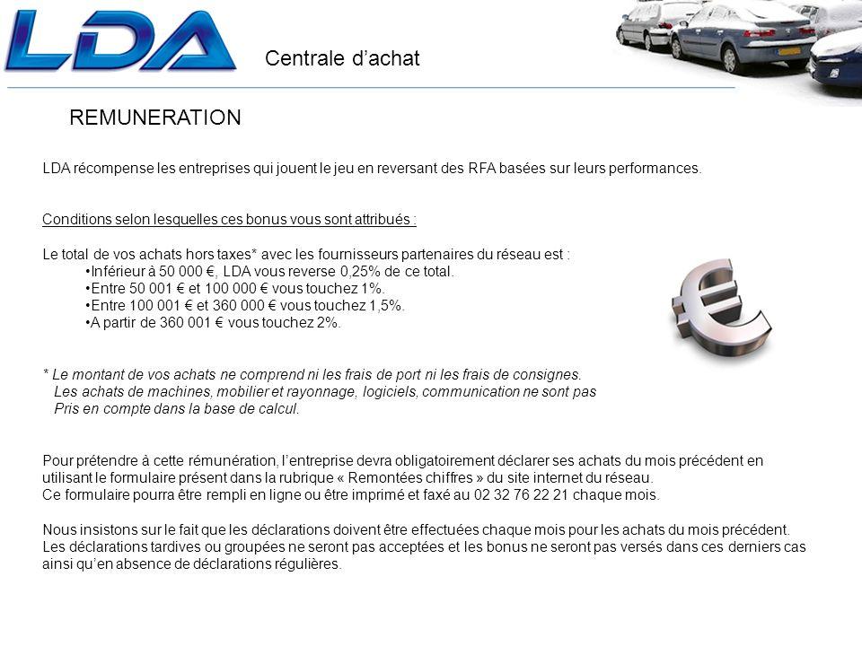 Centrale dachat REMUNERATION LDA récompense les entreprises qui jouent le jeu en reversant des RFA basées sur leurs performances.