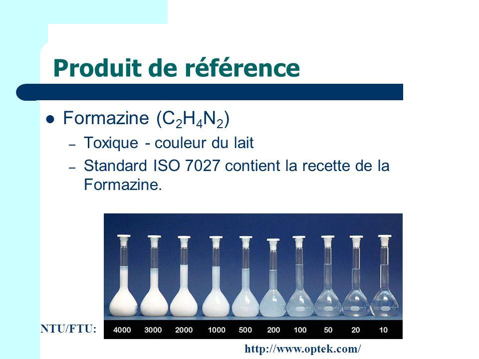 Produit de référence Formazine (C 2 H 4 N 2 ) – Toxique - couleur du lait – Standard ISO 7027 contient la recette de la Formazine.