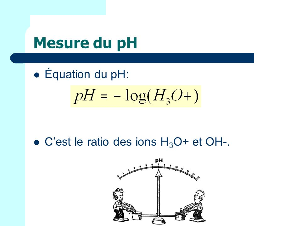 Mesure du pH Équation du pH: Cest le ratio des ions H 3 O+ et OH-.
