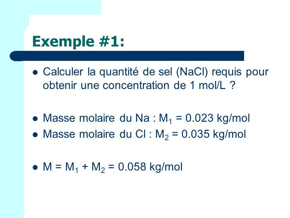 Exemple #1: Calculer la quantité de sel (NaCl) requis pour obtenir une concentration de 1 mol/L .