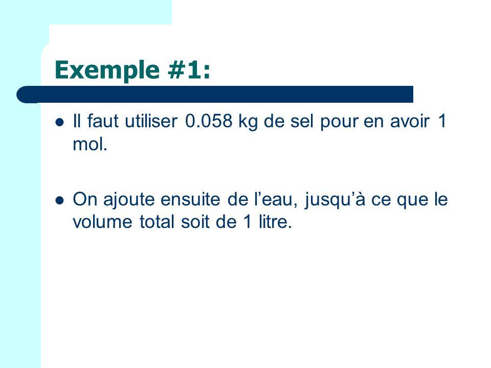 Exemple #1: Il faut utiliser 0.058 kg de sel pour en avoir 1 mol.