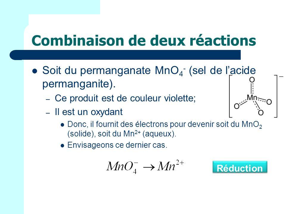 Combinaison de deux réactions Soit du permanganate MnO 4 - (sel de lacide permanganite).