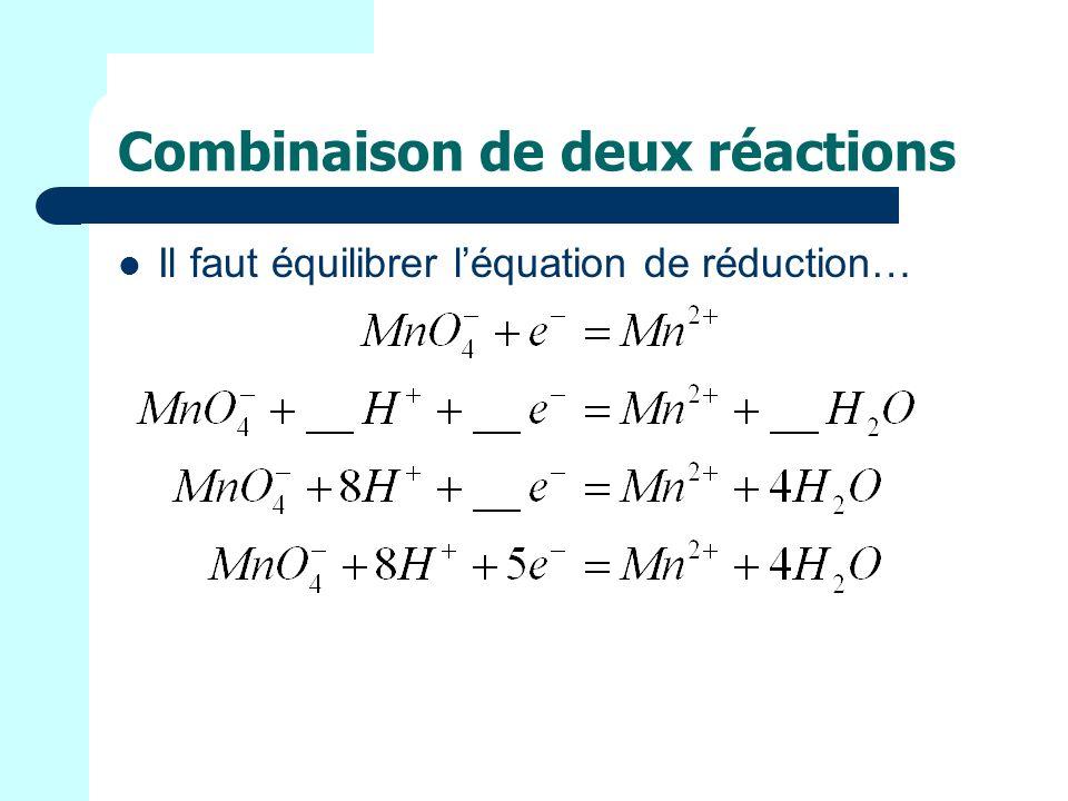 Combinaison de deux réactions Il faut équilibrer léquation de réduction…