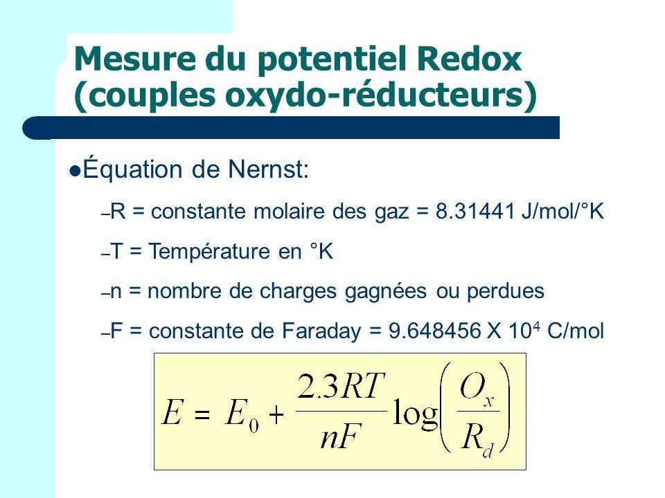 Mesure du potentiel Redox (couples oxydo-réducteurs) Équation de Nernst: – R = constante molaire des gaz = 8.31441 J/mol/°K – T = Température en °K – n = nombre de charges gagnées ou perdues – F = constante de Faraday = 9.648456 X 10 4 C/mol