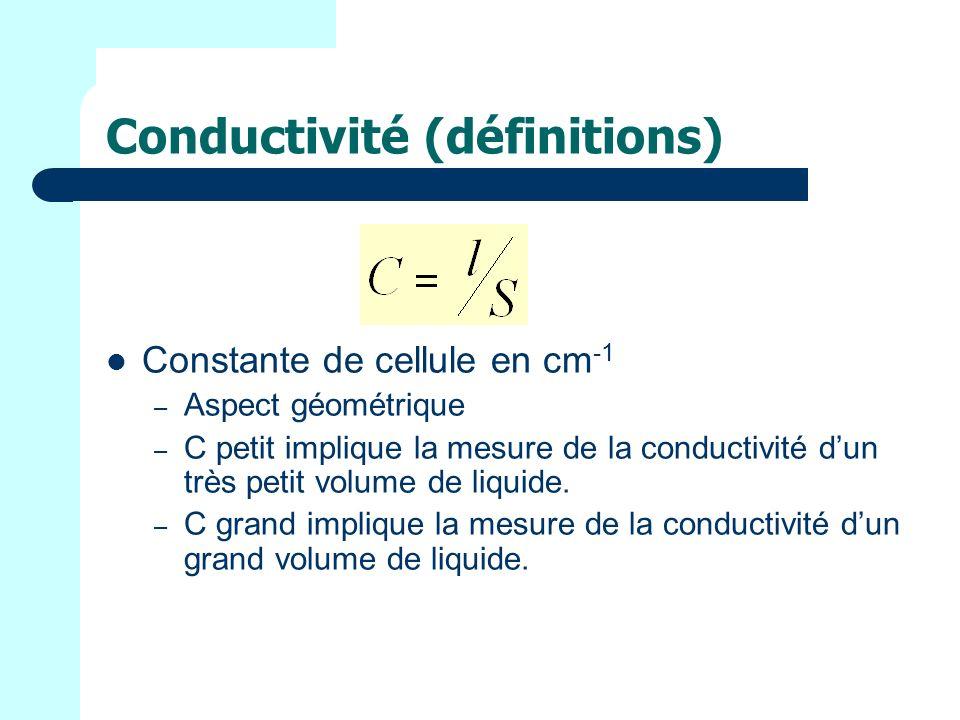 Conductivité (définitions) Constante de cellule en cm -1 – Aspect géométrique – C petit implique la mesure de la conductivité dun très petit volume de liquide.