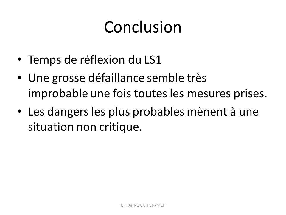 Conclusion Temps de réflexion du LS1 Une grosse défaillance semble très improbable une fois toutes les mesures prises. Les dangers les plus probables