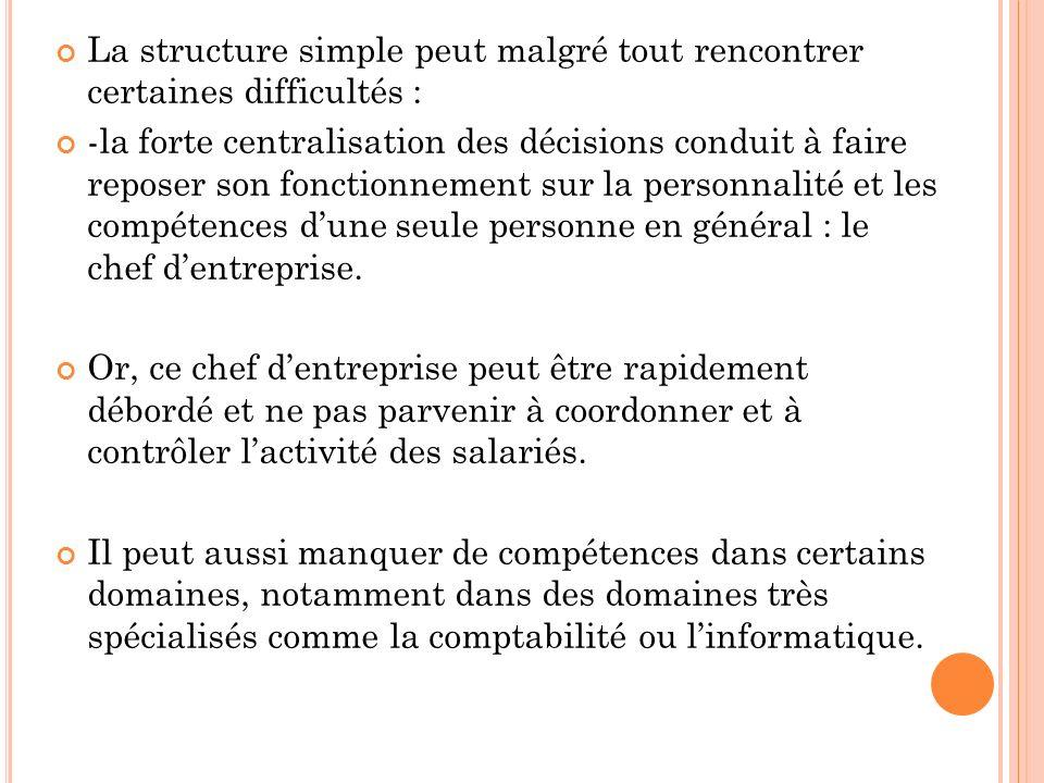 La structure simple peut malgré tout rencontrer certaines difficultés : -la forte centralisation des décisions conduit à faire reposer son fonctionnement sur la personnalité et les compétences dune seule personne en général : le chef dentreprise.