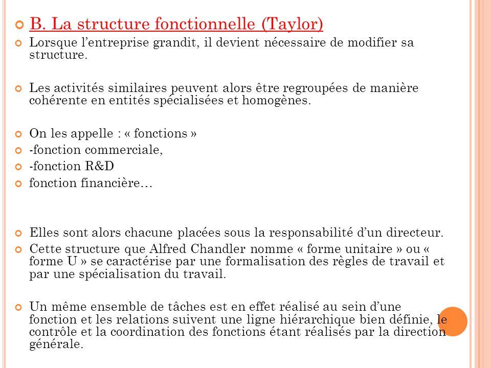 B. La structure fonctionnelle (Taylor) Lorsque lentreprise grandit, il devient nécessaire de modifier sa structure. Les activités similaires peuvent a